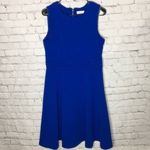CALVIN KLEIN blue fit and flare sleeveless dress